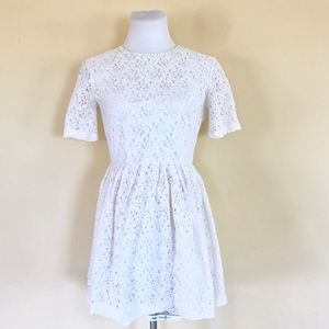 ASOS White Floral Lace Short Sleeve A-Line Dress